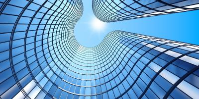 Obraz 3d render ranní pohled na perspektivní skleněné budovy