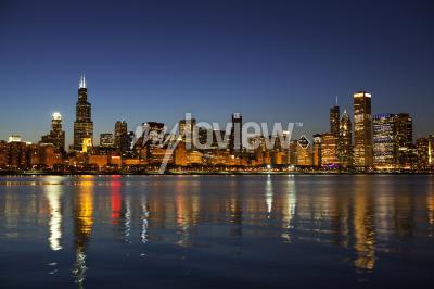 Fototapeta Chicago Skyline za soumraku