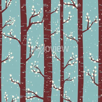 Fototapeta Bezešvé obklady vzor s břízami pod sněžení