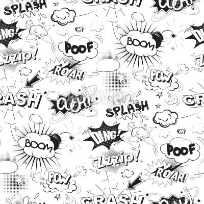 Fototapeta Komická černá bubliny ve stylu pop art bezešvé vzor