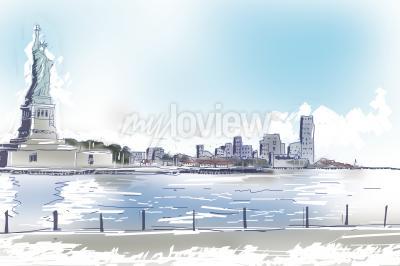 Obraz Perokresby ilustrace Socha svobody a centra New Yorku na jasně modré slunečný den. Cestovní a turistické koncepce