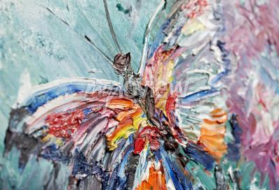 Detailní fragment olejomalba motýl