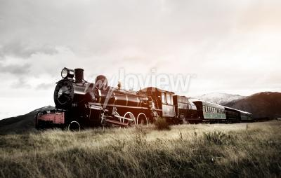 Fototapeta Parní vlak V otevřeném venkovský Transportation Concept