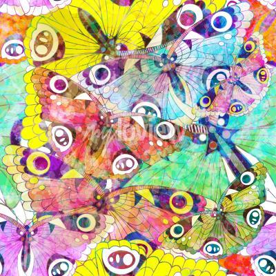 Obraz Bezešvé vzor s barevnými motýly