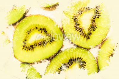 Obraz Tvůrčí jídlo umění na plátky kiwi