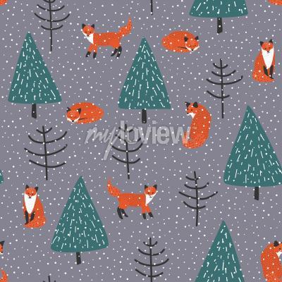 Obraz Lišky v zimě lese bezproblémové vzor vektor