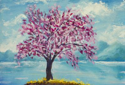 Obraz Kvetoucí sakura na olejomalbu vody