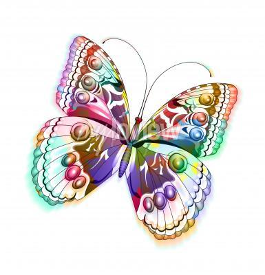 Nálepka Barevný izolovaný motýl
