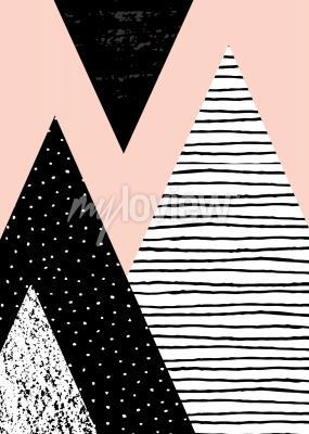 Fototapeta Abstraktní geometrické složení v černé a pastelové růžové