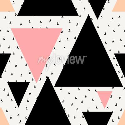 Fototapeta Abstraktní geometrické bezproblémové opakování vzoru v černé krémové pastelové růžové a oranžové