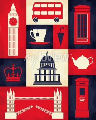 Plakát Plakát retro stylu s londýnskými symboly a orientačními body