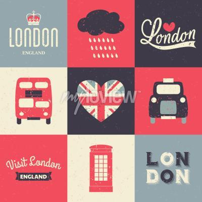 Plakát Sada vintage stylových přání s londýnskými symboly