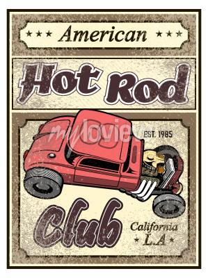 Plakát Hot rodový plakát na zakázku