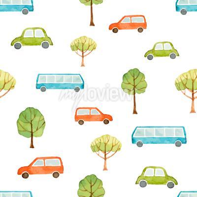 Fototapeta Akvarel bezproblémové vzor auto autobus a stromy