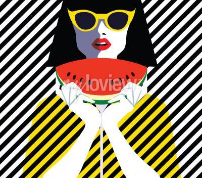 Obraz Krásná mladá žena s sluneční brýle a meloun, retro styl