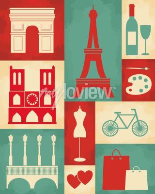 Fototapeta Plakát retro stylu s symboly a památkami Paříže