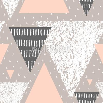 Fototapeta Abstraktní geometrický bezešvý vzor opakování v bílé šedé a pastelové růžové