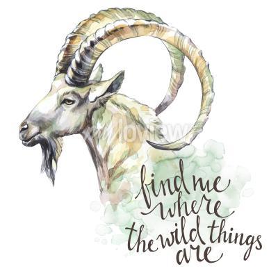 Obraz Akvarelová koza s ručně psanou inspirační větou