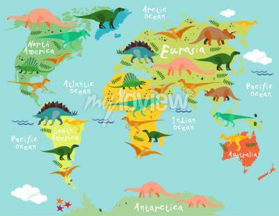 Fototapeta Mapa dinosaurů světa pro děti a děti