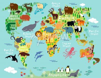 Fototapeta Mapa zvířat světa pro děti a děti