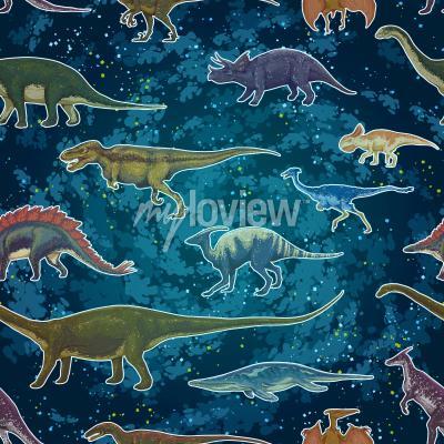 Fototapeta Diplodocus Tyrannosaurus Rex Pterodactylus ... v bezproblémové vzorek, ručně kreslené vektorové ilustrace