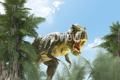 Fototapeta dinosaur v pozadí džungle 3D vykreslení