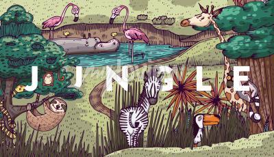 Fototapeta Divoký život v džungli s různými zvířaty