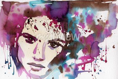 Obraz Akvarel ilustrace ilustrující portrét mladé dívky je fantazie.