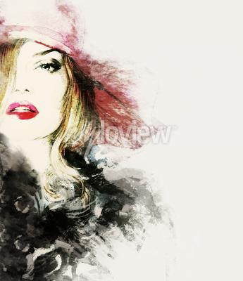 Obraz Styl žena portrét abstraktní módní akvarel ilustrační