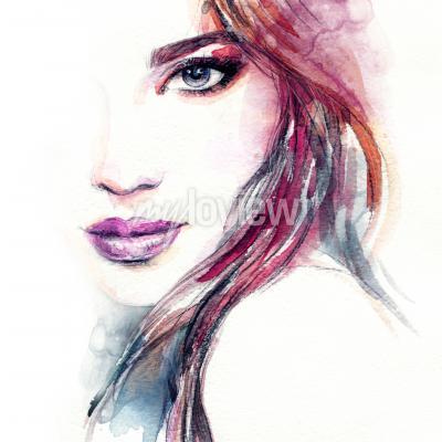 Obraz Abstraktní žena čelí akvarel malování