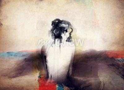 Obraz Žena portrét abstraktní akvarel pozadí módy