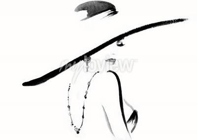 Obraz Portrét ženy s kloboukem módní ilustrace