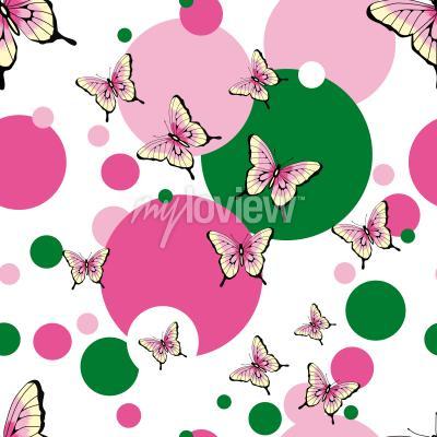 Fototapeta Motýli bezešvé vektorový vzor