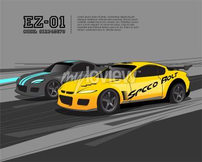 Fototapeta Šablona designu závodních automobilů