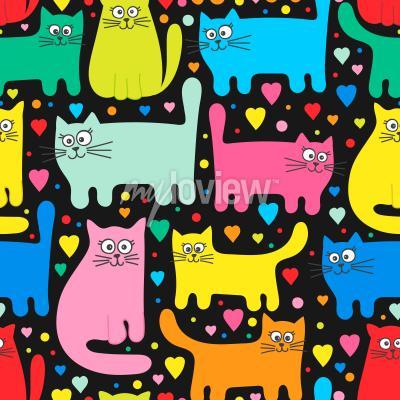 Fototapeta Funny kittens and hearts