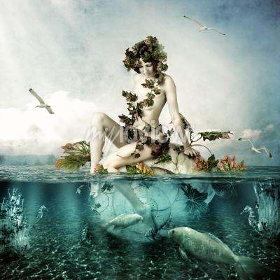 Obraz Mermaid underwater Beautiful woman seating on a shell in sea or ocean