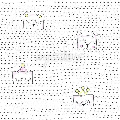 Fototapeta Vector illustration of seamless baby pattern