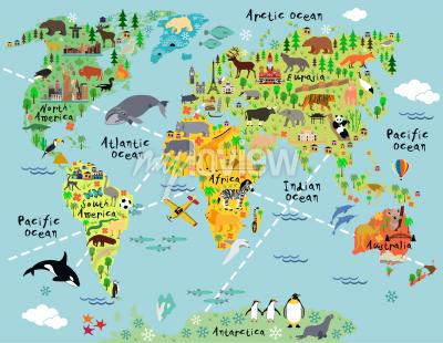 Fototapeta Cartoon world map with landscape and animal