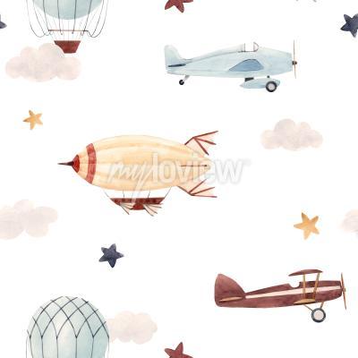 Nálepka Plane and cloud seamless pattern