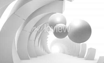 Fototapeta 3d wall tunnel with flying balls 3d rendering