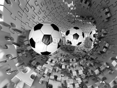 Fototapeta 3d footballs in the tunnel