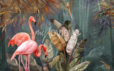 Fototapeta Flamingo background design with tropical palm and banana leaves
