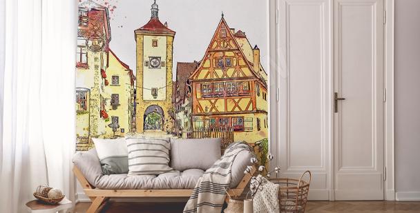Akvarelová fototapeta s budovami