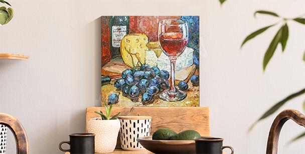 Barevný obraz sýr a víno