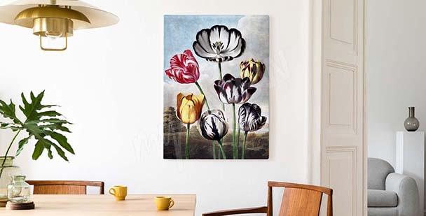 Barevný obraz tulipány na pozadí nebe