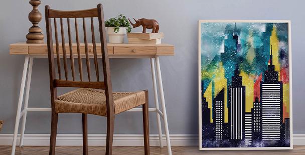 Barevný plakát s budovami