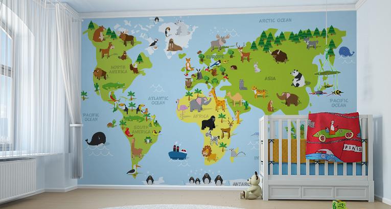 Mapa světa na zeď: pro malé cestovatele
