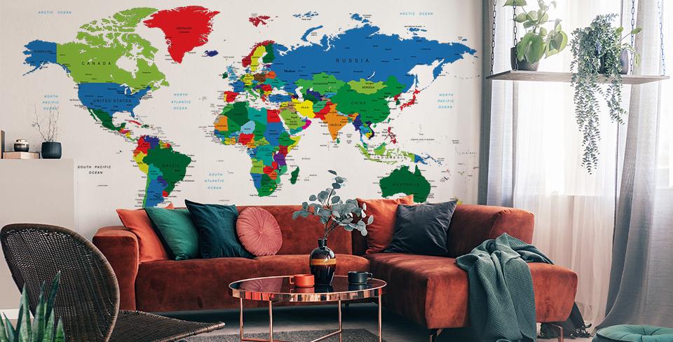 Mapa světa nástěnné malby