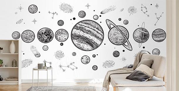Černobílá fototapeta planety