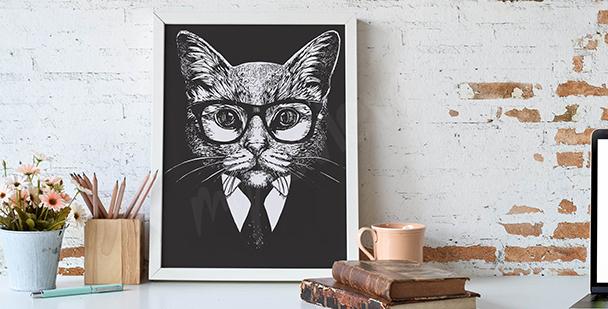 Černobílá ilustrace kočky